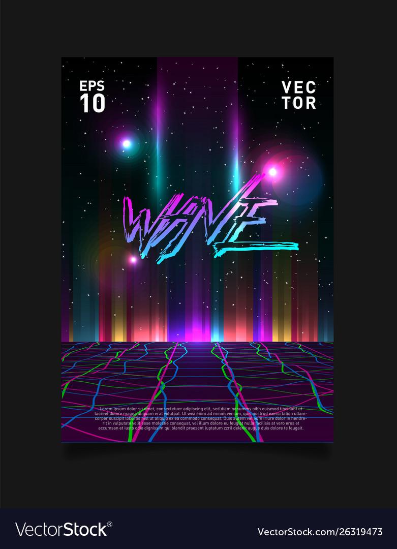 Retrowave vaporwave synthwave glitched laser grid