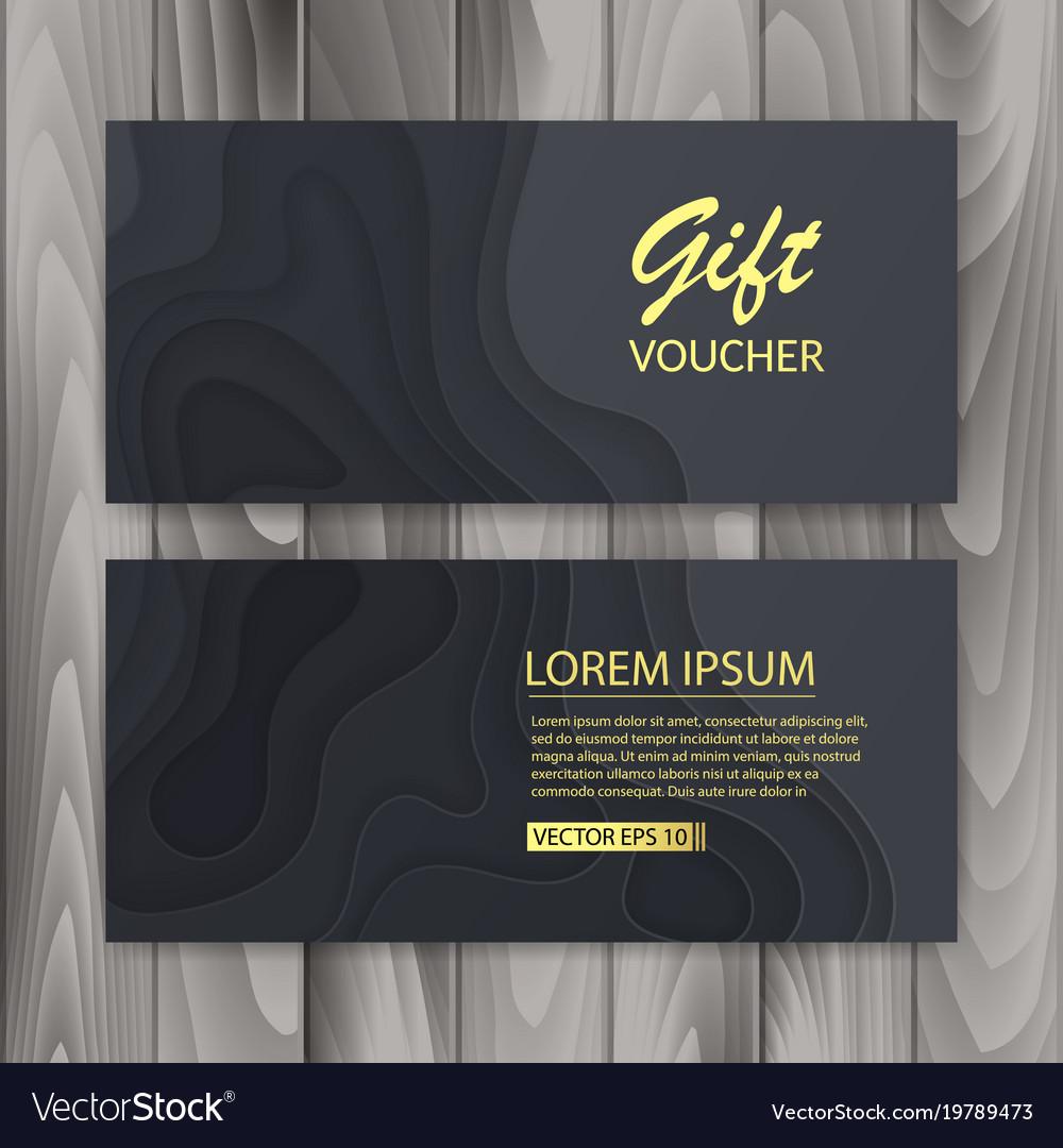 set of voucher gift certificate design with dark vector image