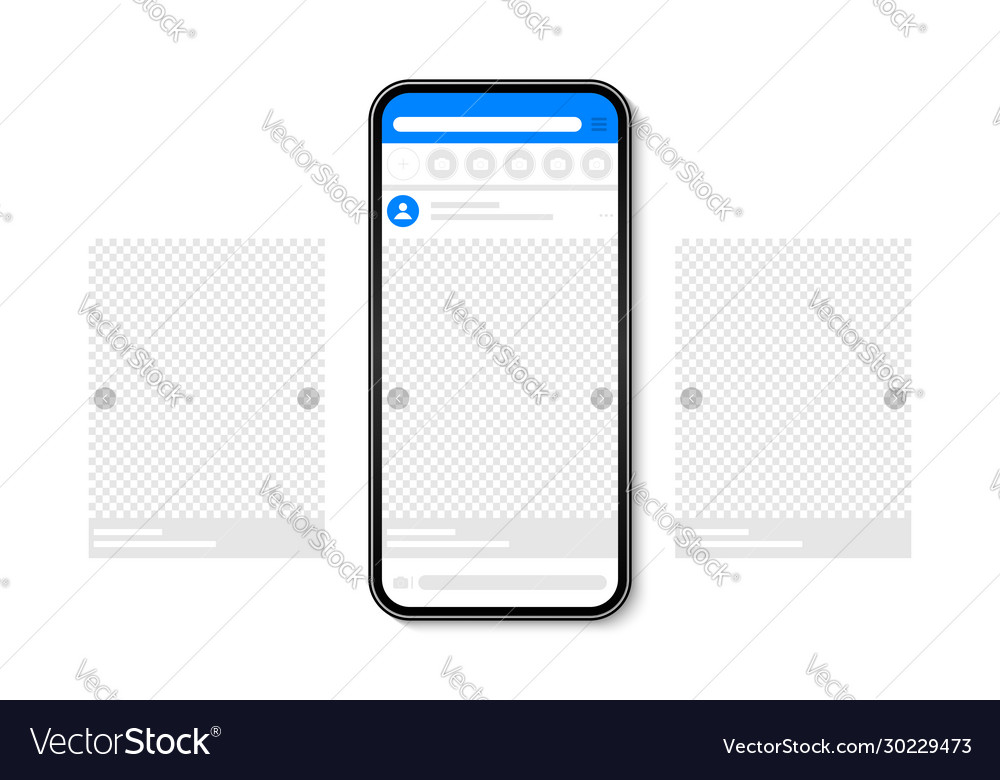 Smartphone with carousel post on social network