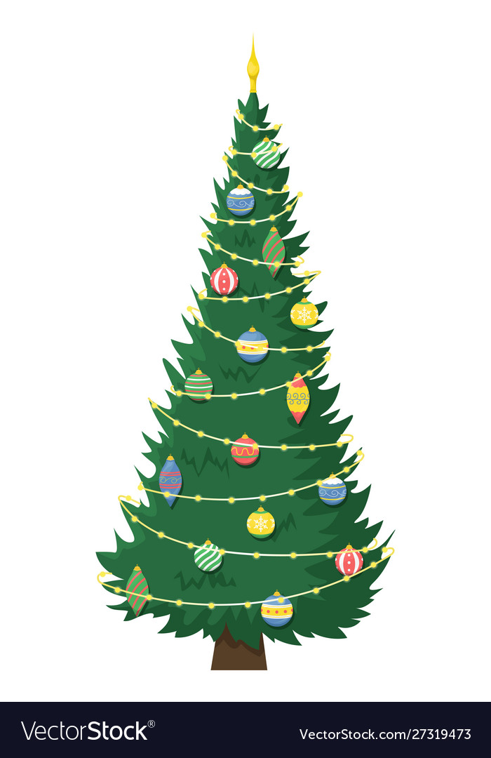 Tall Beautiful Christmas Tree With Garland Vector Image