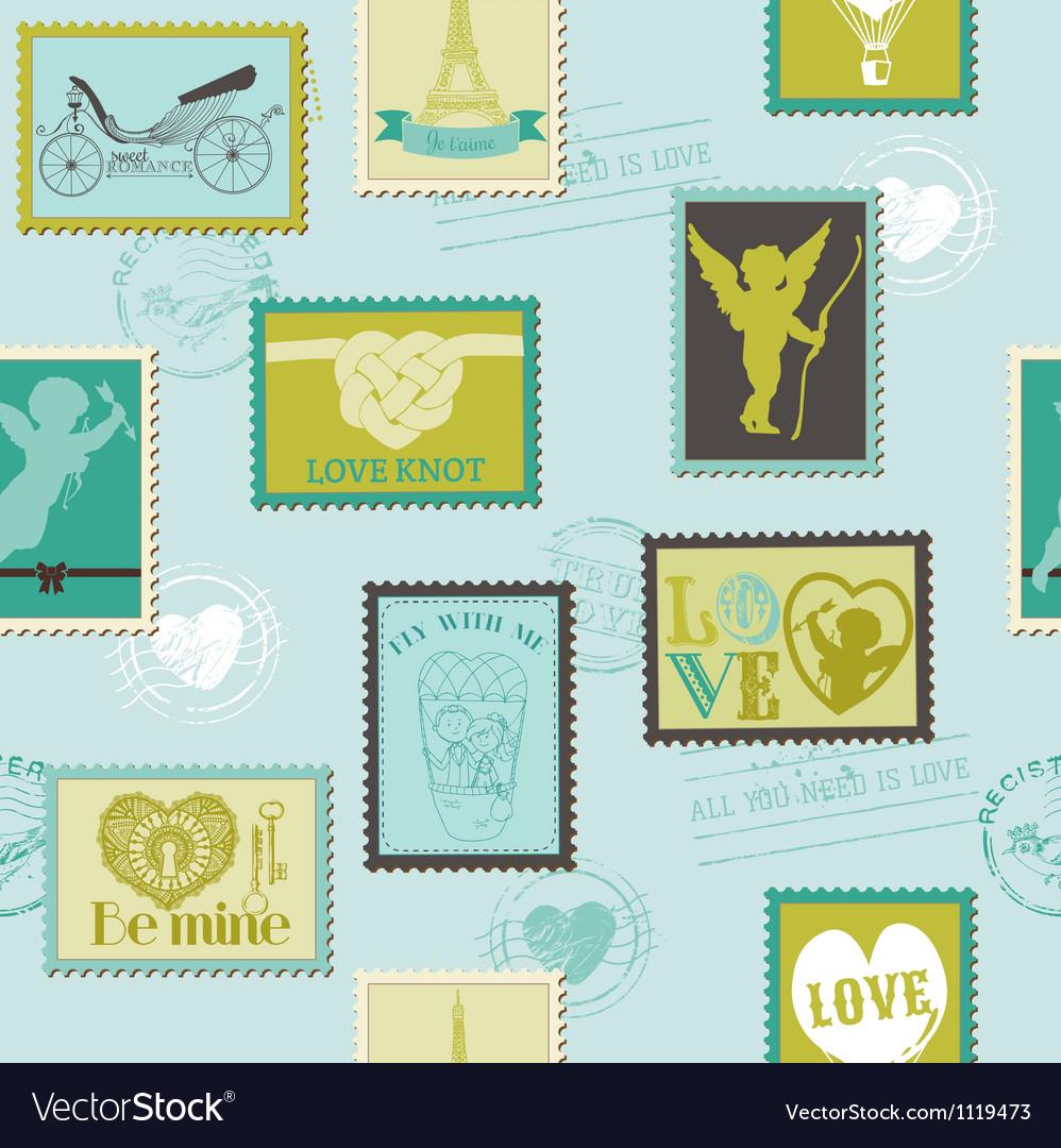 Valentine Stamps Love Background