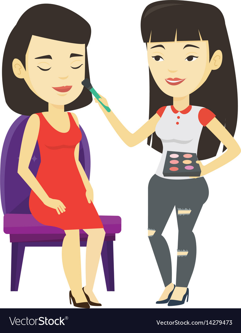 Visagiste doing makeup to young stylish girl