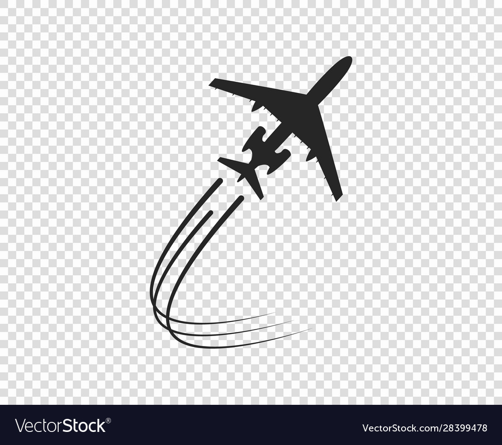 Airplane Silhouette Taking Twisting Plane Trail Vector Image