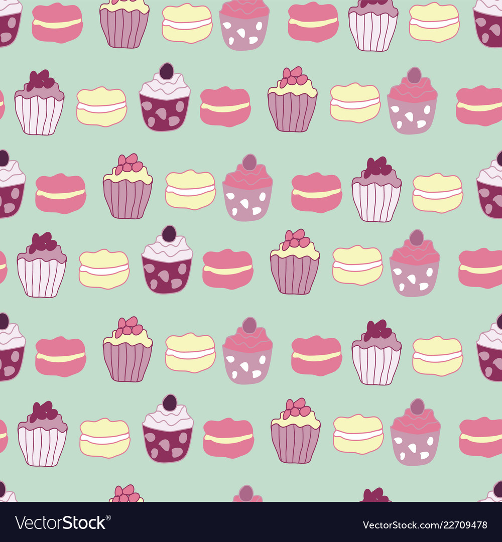 Cakes and muffins seamless pattern design