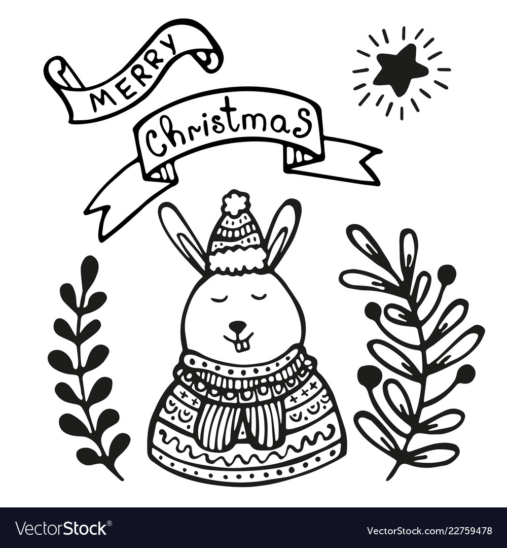 Christmas greeting card with rabbit