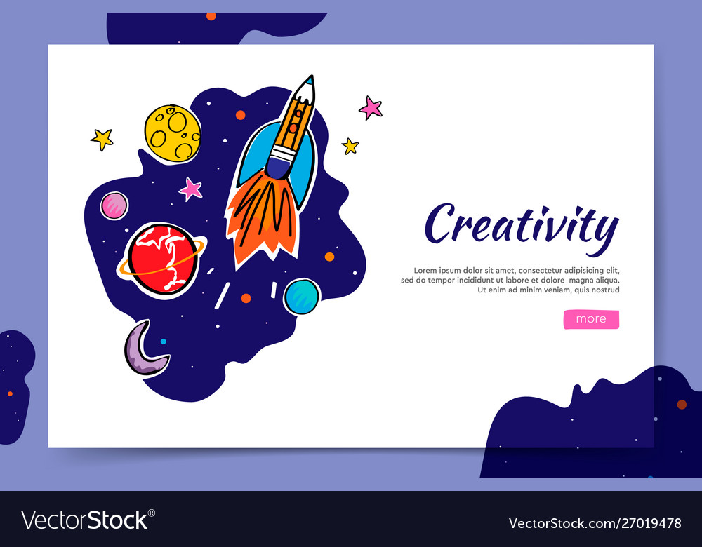 Creativity website and space graphic doodle