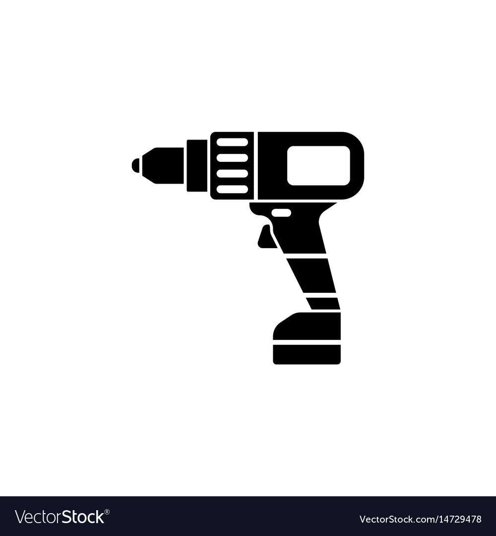 Electric screwdriver solid icon build repair vector image