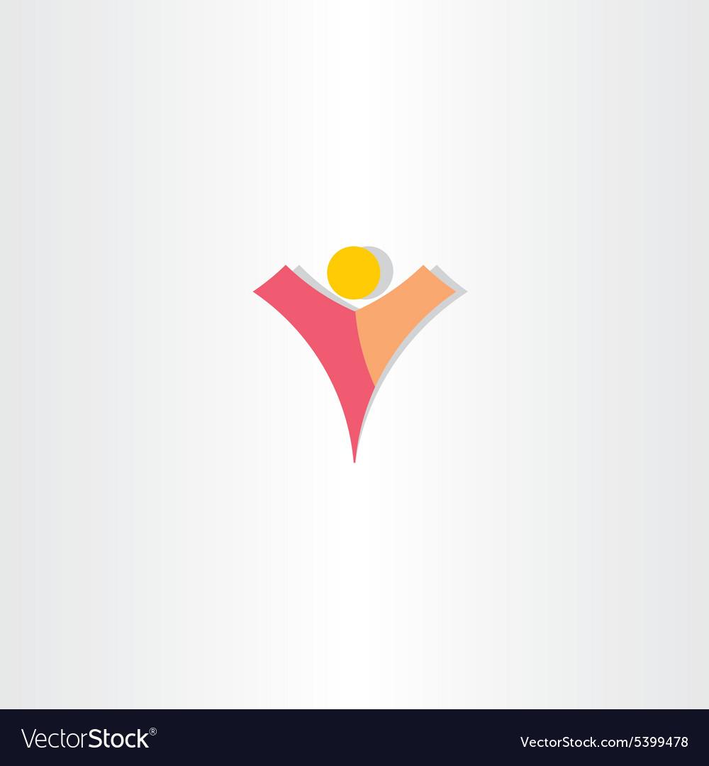 Letter v man logo design