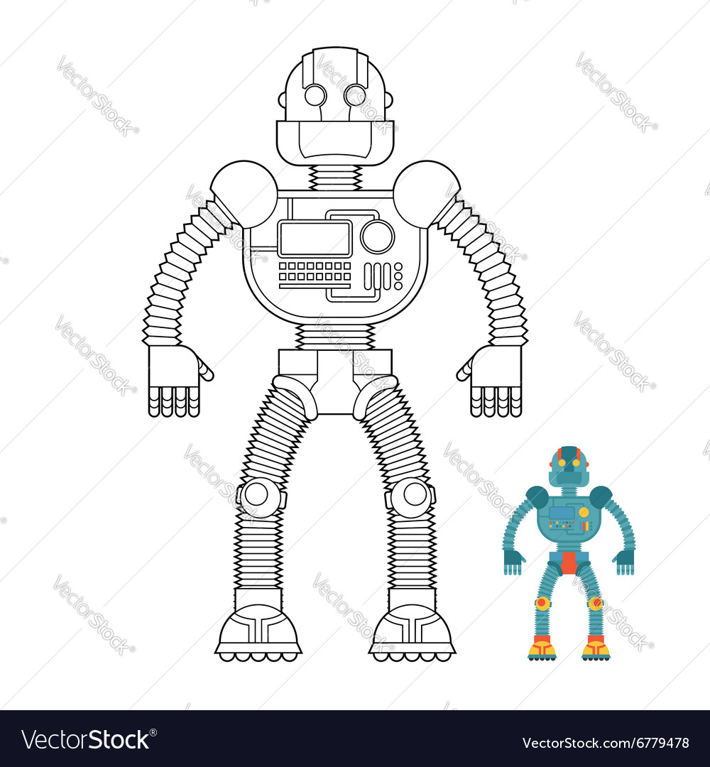 Robot coloring book Cyborg - technological machine