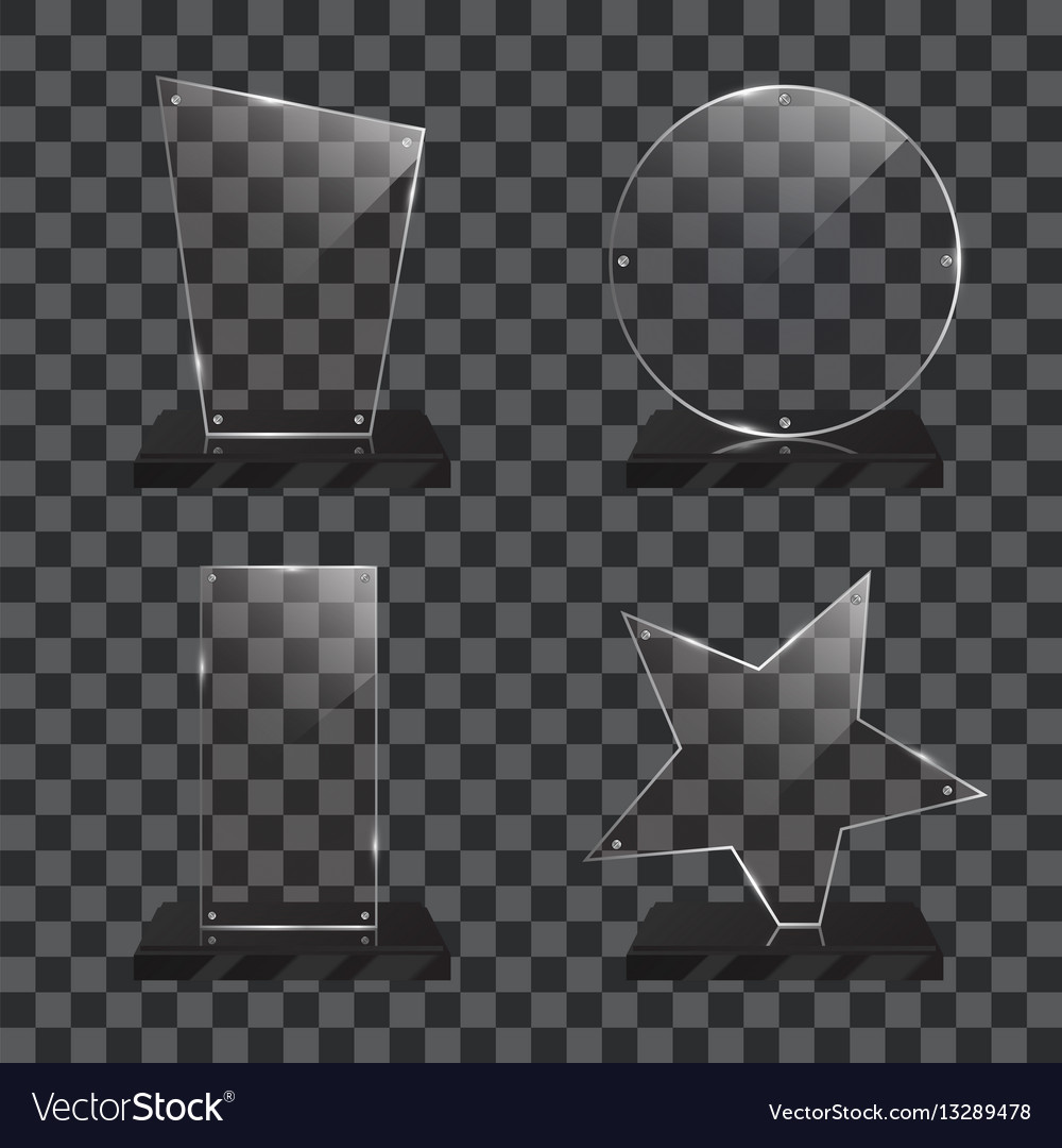 Set of realistic glass trophy awards vector image