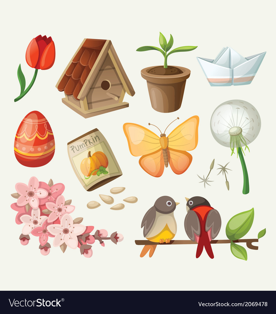 Set spring items Royalty Free Vector Image - VectorStock