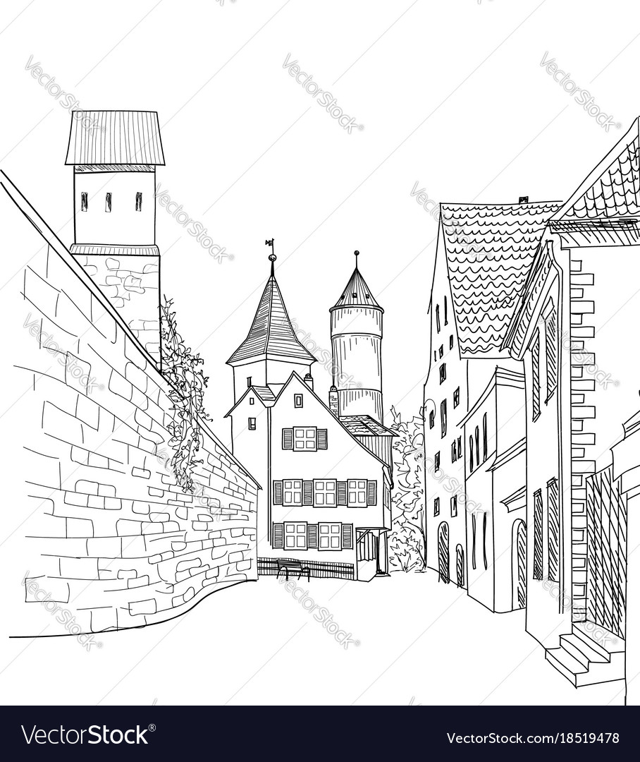 Street view in old city medieval cityscape