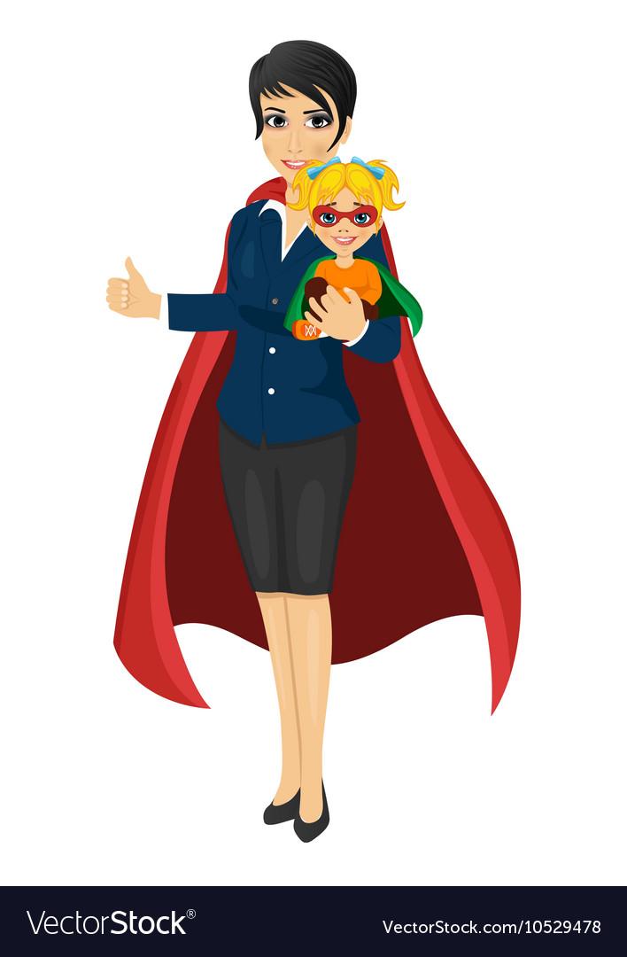 Super hero mom holding her daughter