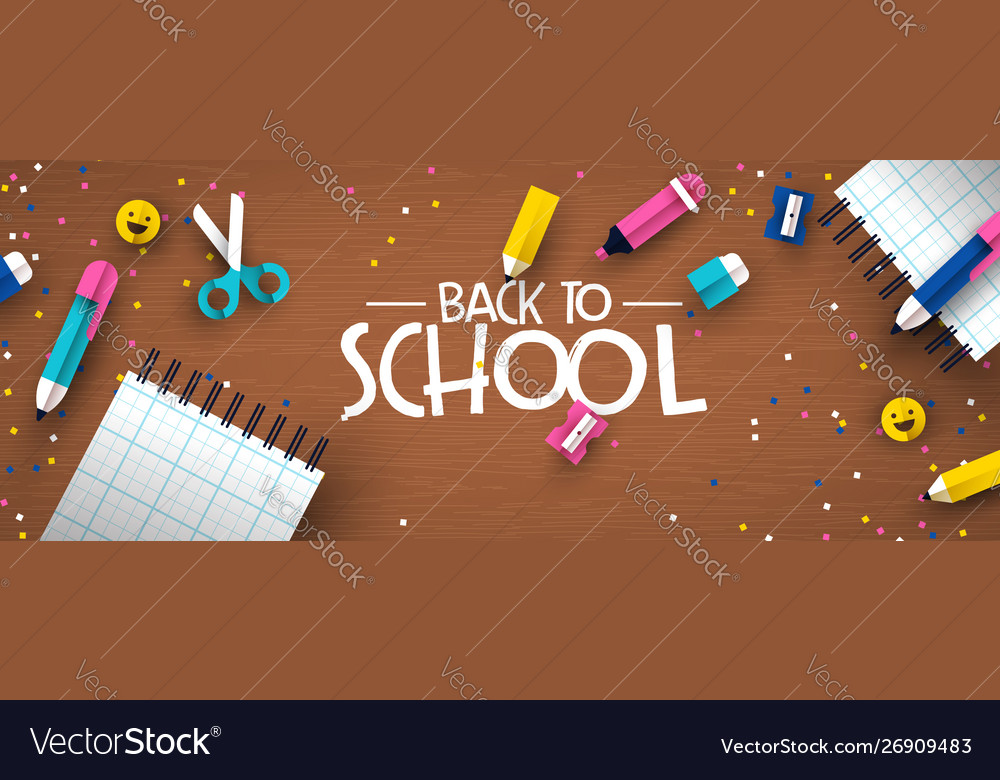 Back to school 3d papercut kid supplies wood desk