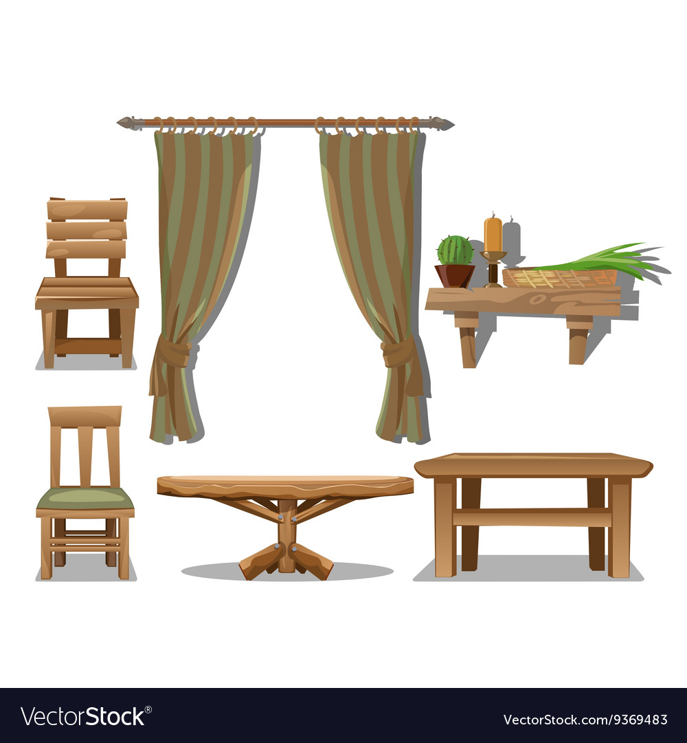 Set Of Old Wooden Furniture In Wild West Style Vector Image