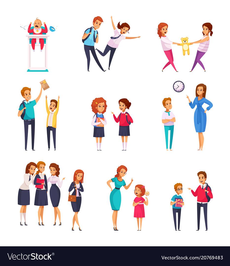 Bullying children cartoon set vector image