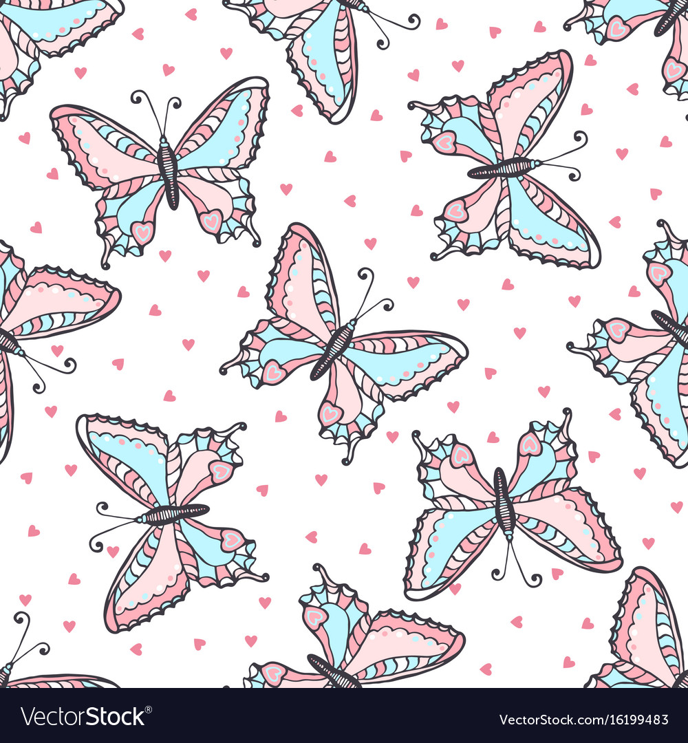 Butterflies seamless pattern in doodle style hand vector image