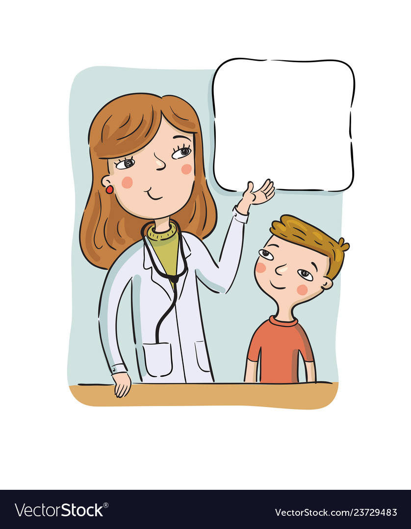 Childrens doctor shows to the boy on the poster