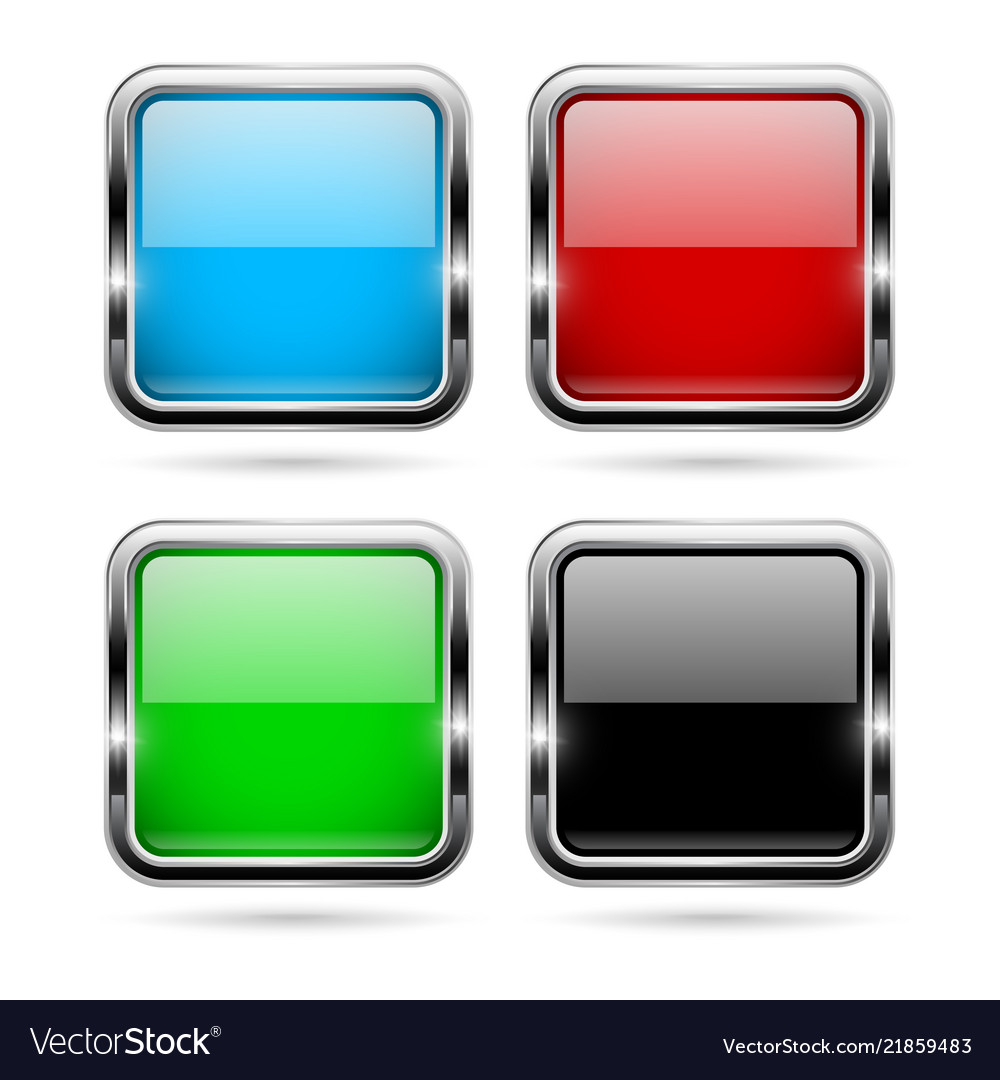 Colored glass 3d buttons with chrome frame square