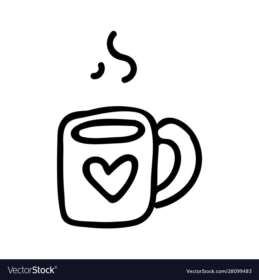 Cute Tea Mug Lineart Cartoon Royalty Free Vector Image