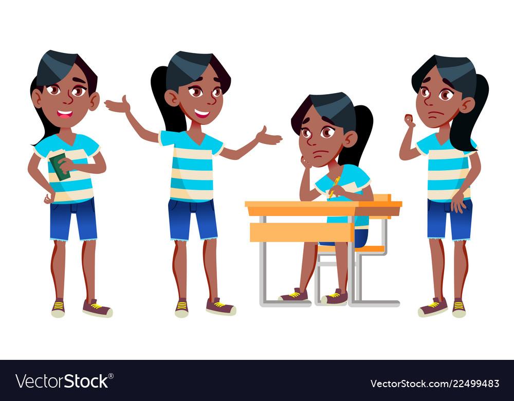 Girl schoolgirl kid poses set black afro