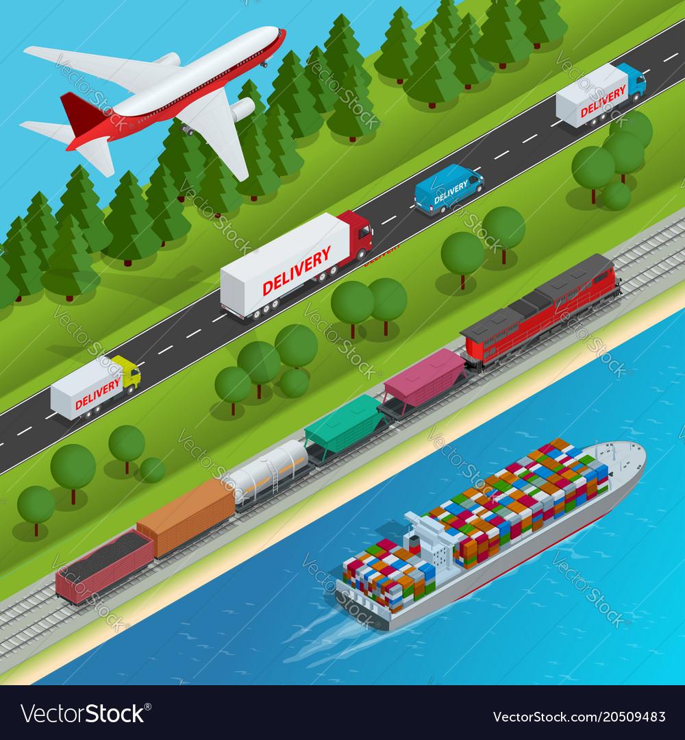 Global logistics network flat isometric