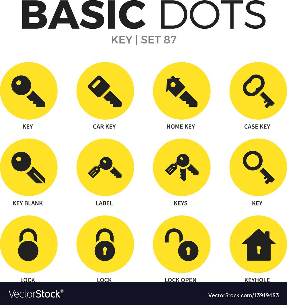 Key flat icons set