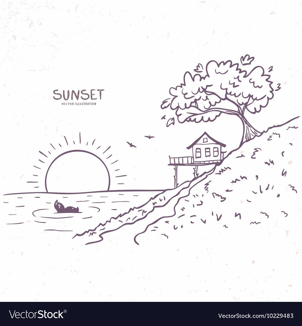 Nature sunset sea