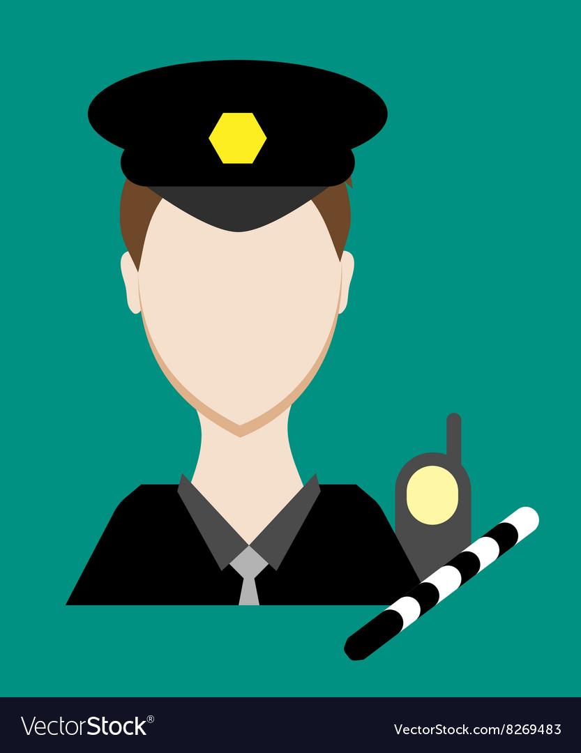 Profession people cop Face male uniform Avatars in