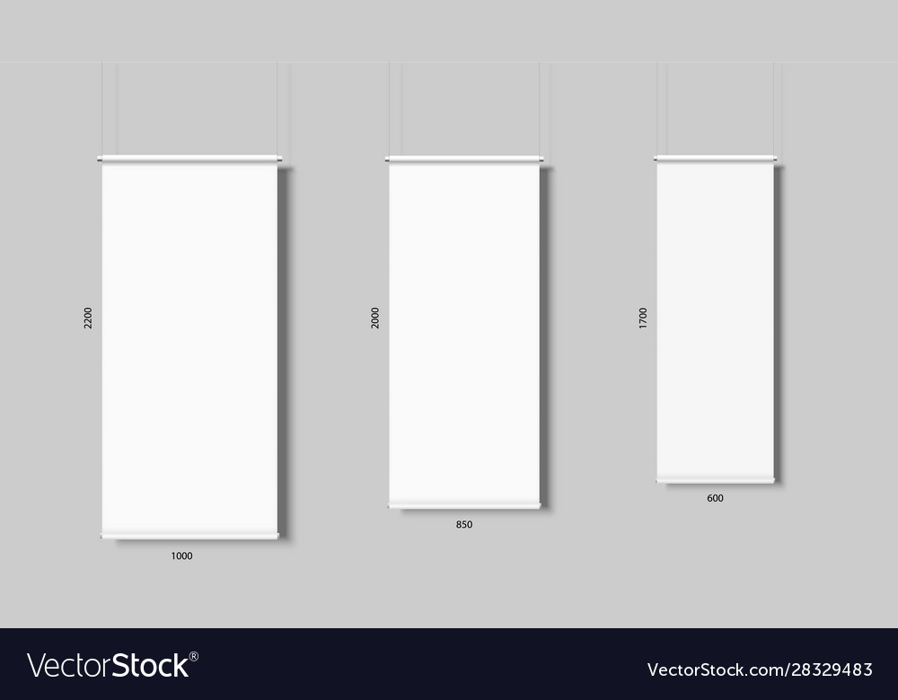 Roll up banner isolated vertical empty display