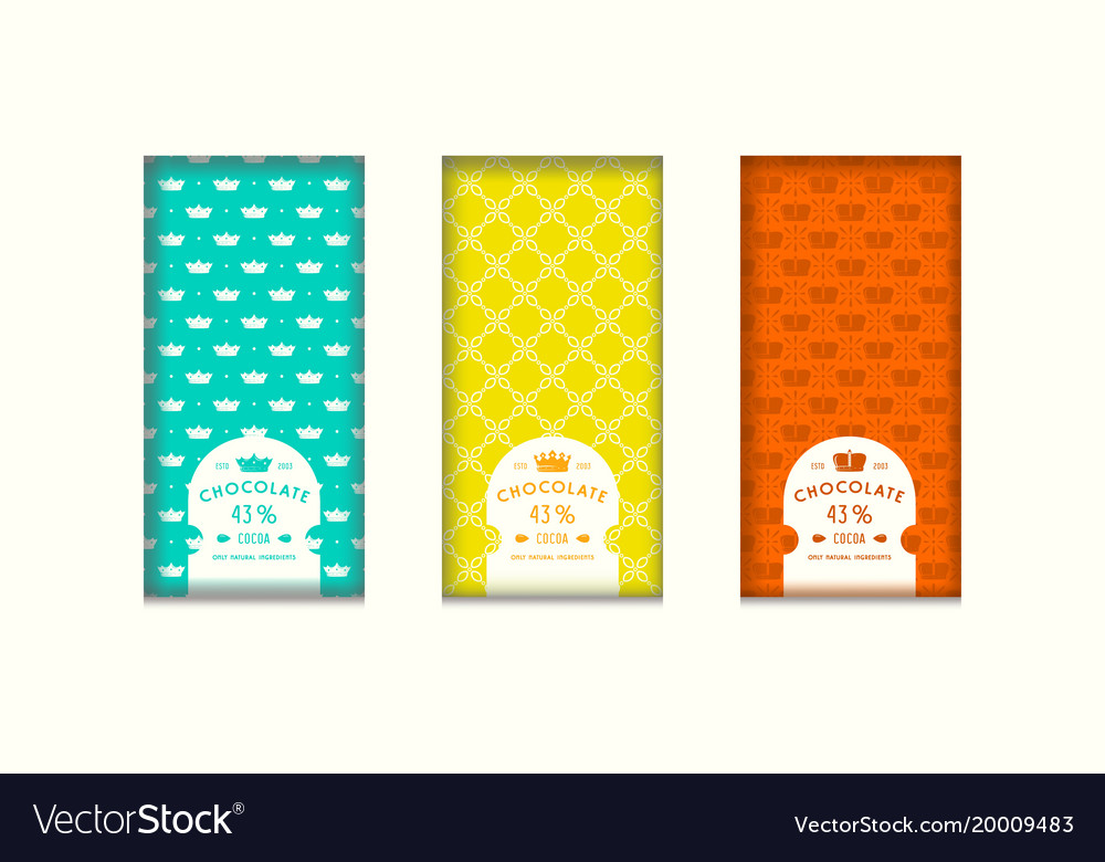 Set of seamless pattern and labels for chocolate