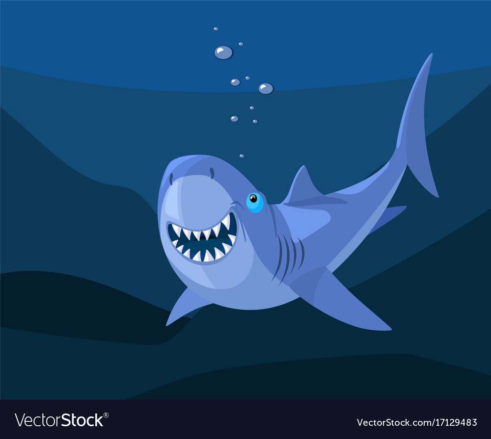Smiling shark cartoon