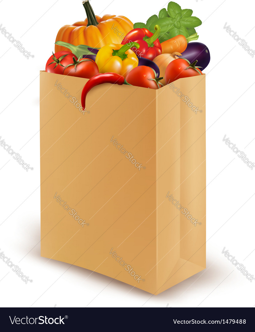 Background with fresh vegetables in paper bag vector image