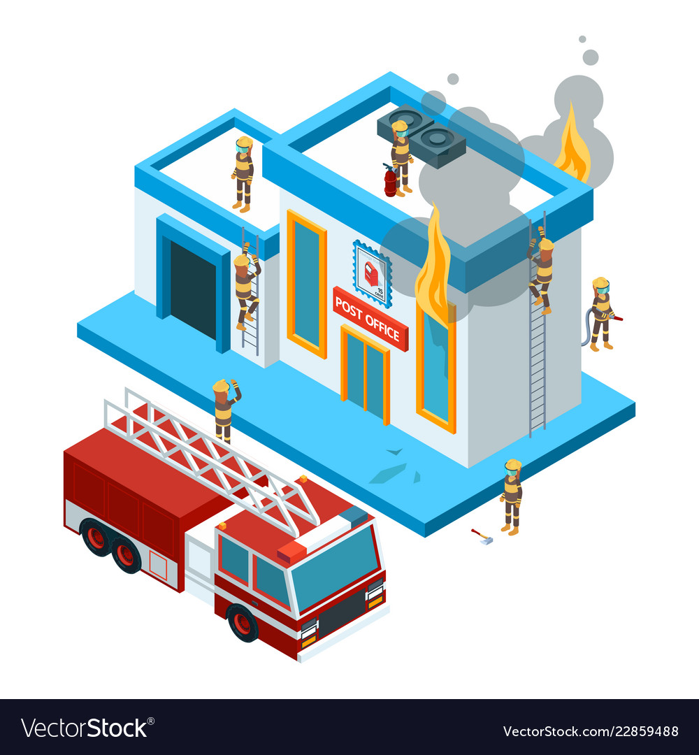 Building in flame isometric firefighters at work