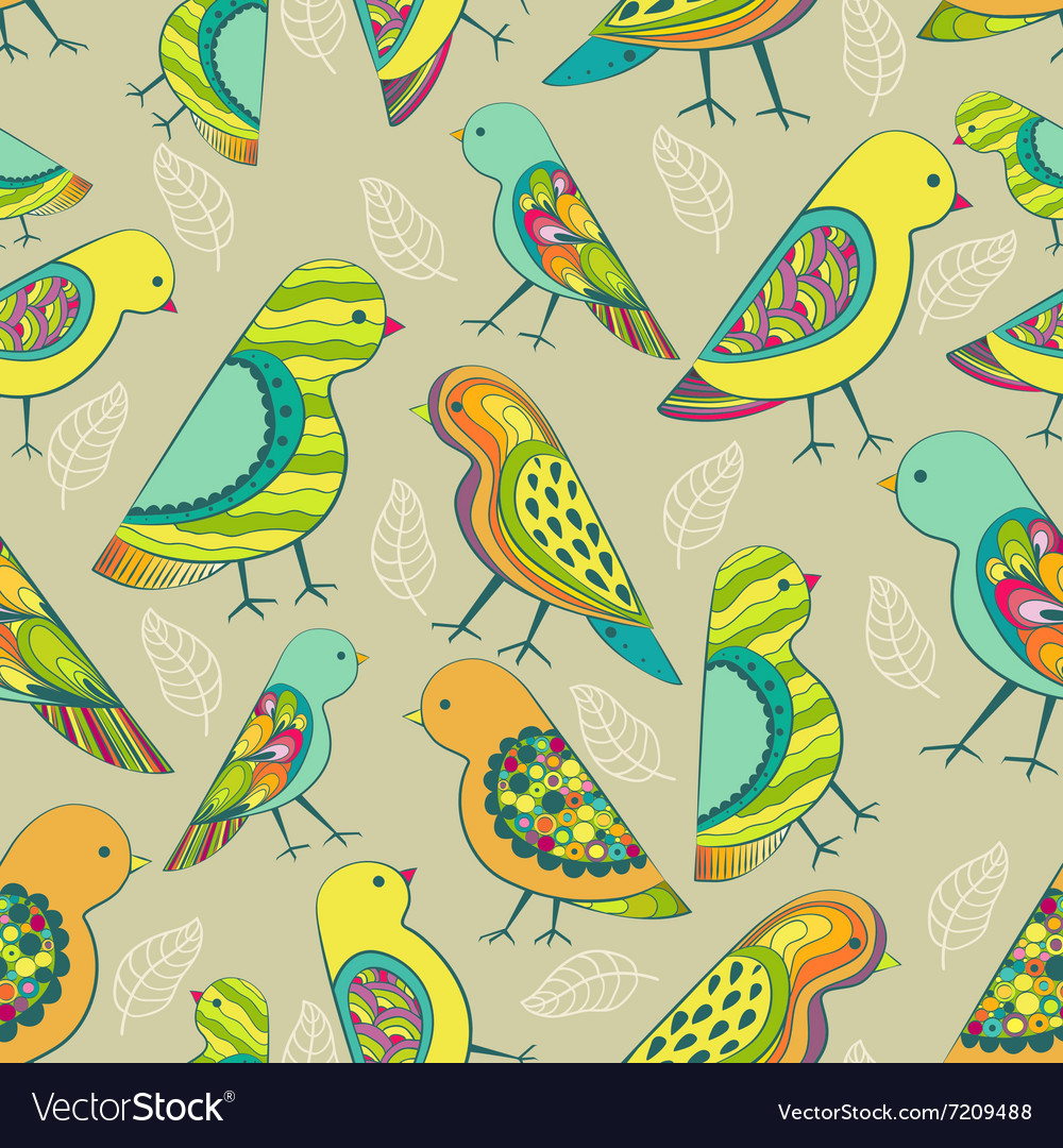 Colorful decorative birds seamless pattern