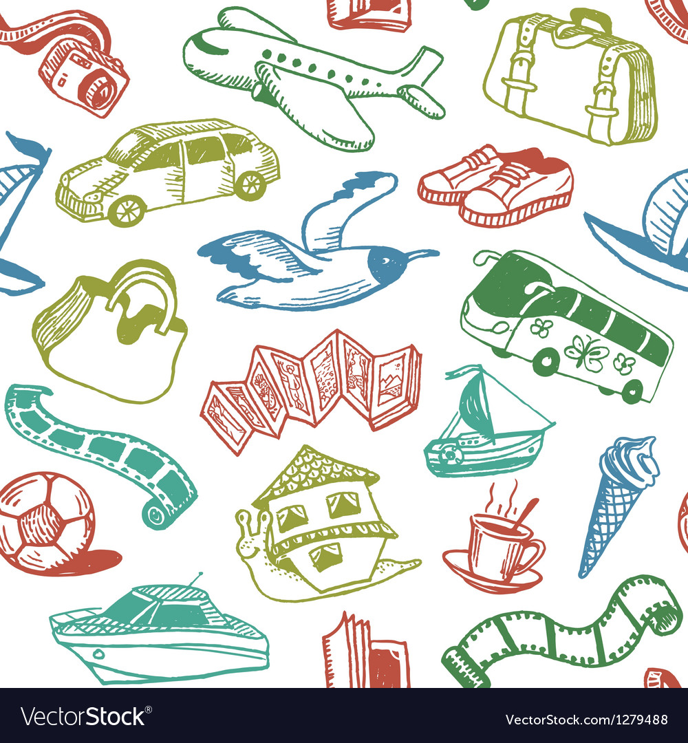 Doodle Travel Seamless Pattern