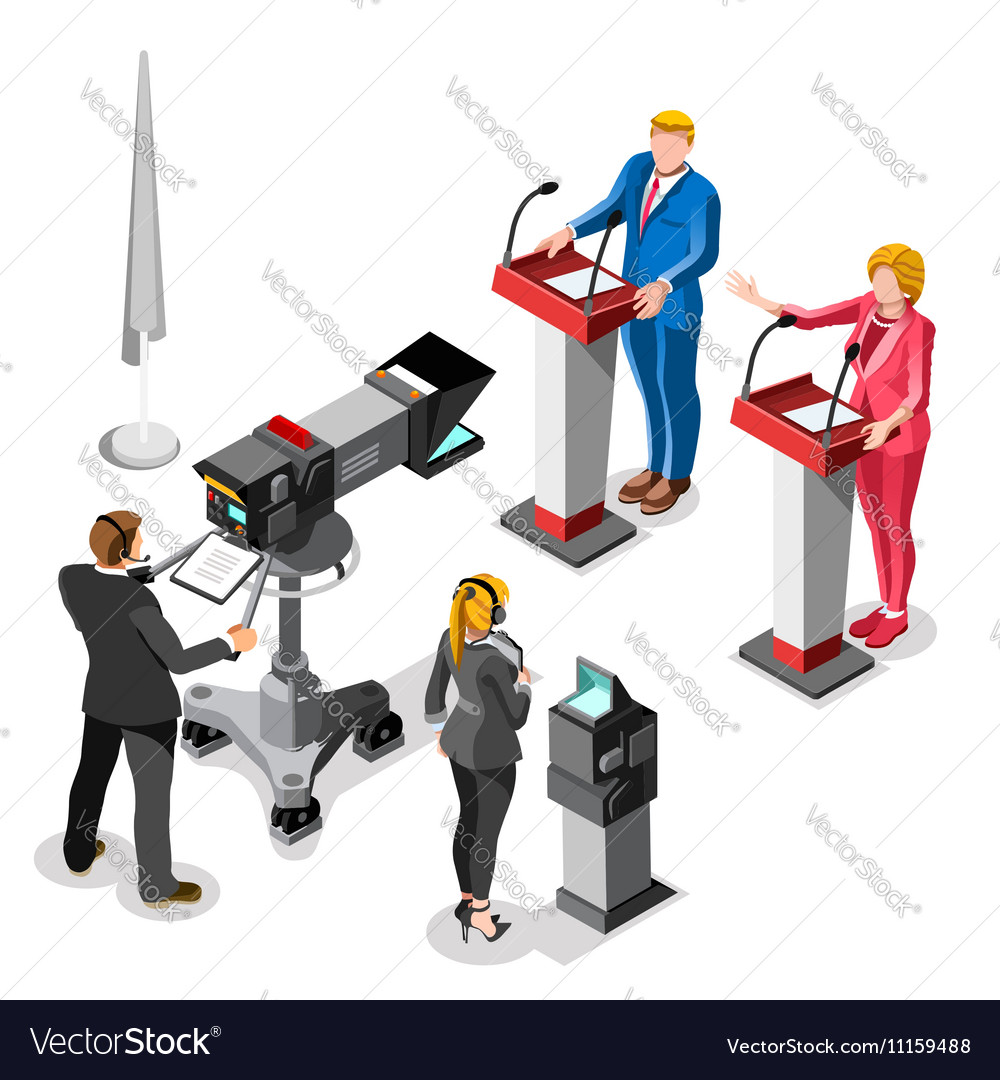 Election News Infographic Live Video Isometric vector image