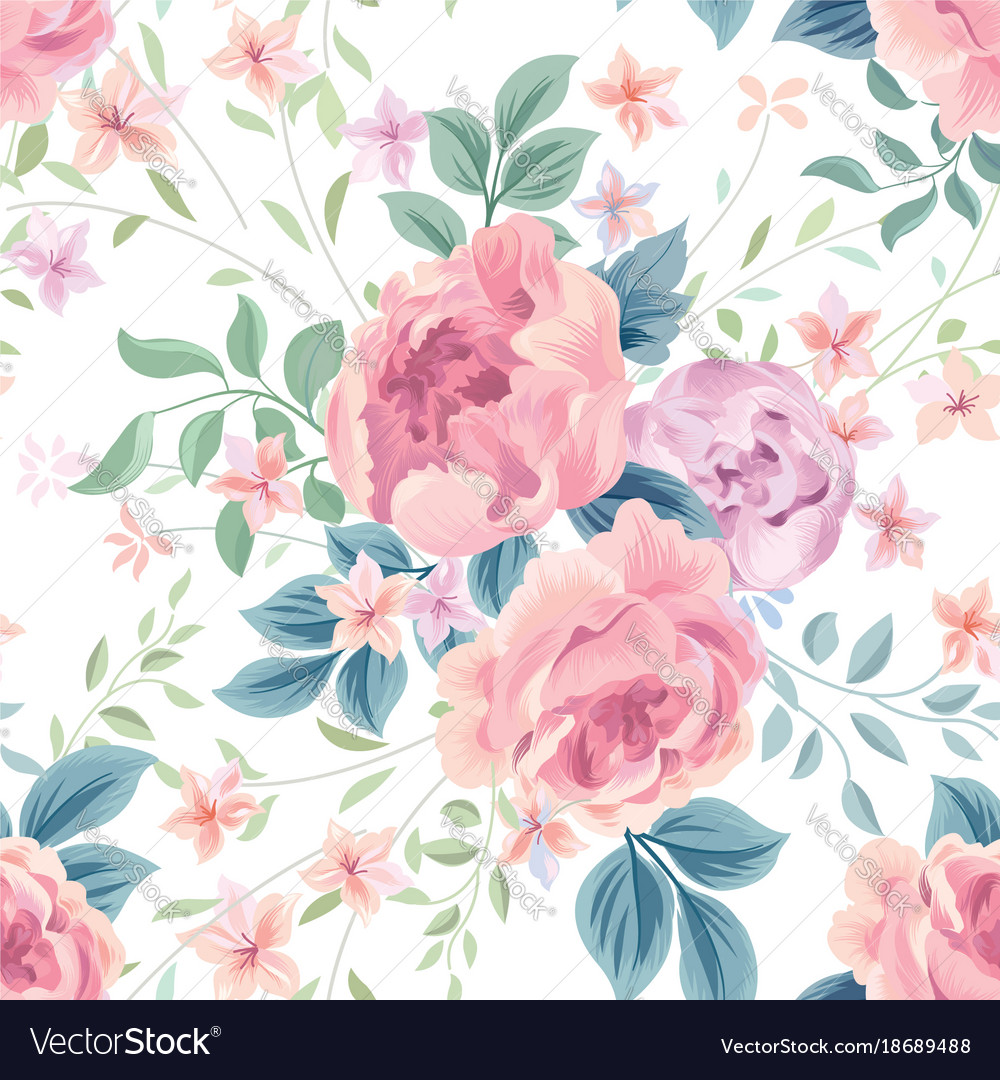Floral seamless pattern flower rose white
