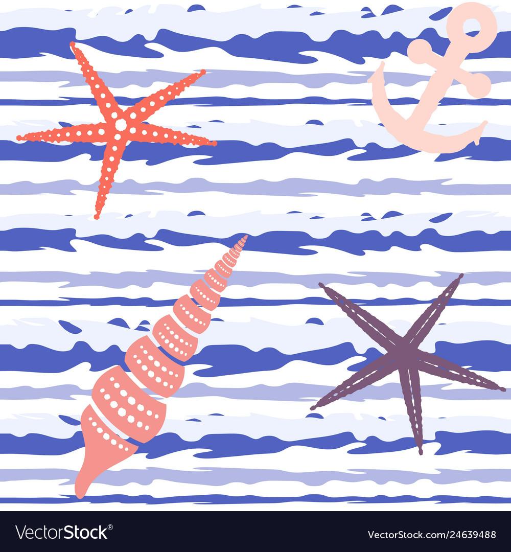 Marine striped seamless pattern with seashells