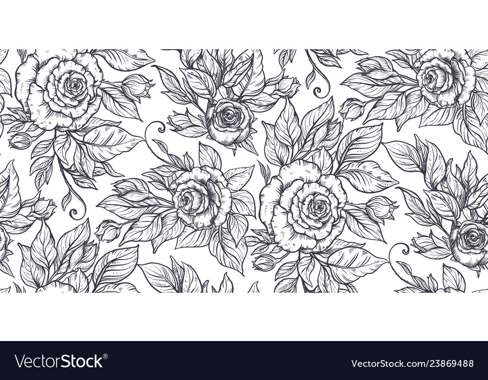 Seamless pattern with graphic rose flowers