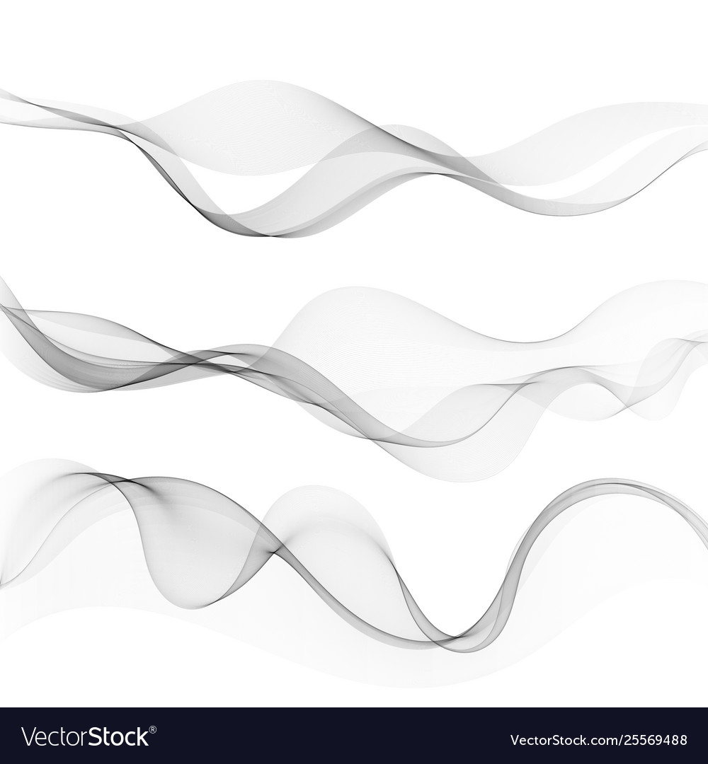 Set abstract lines with grey waves with gray