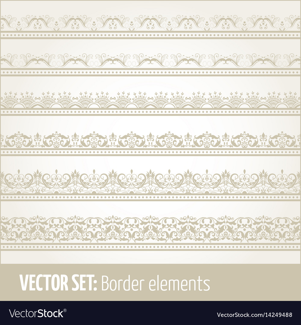 Set of border elements and page