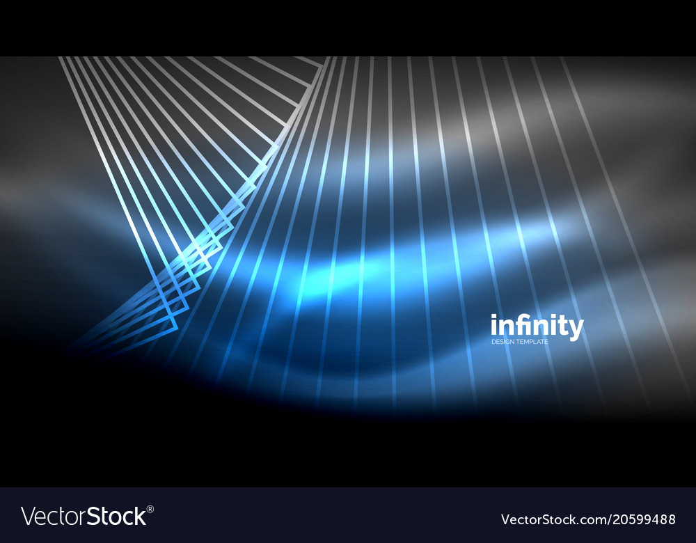 Shiny straight lines on dark background techno vector image on VectorStock