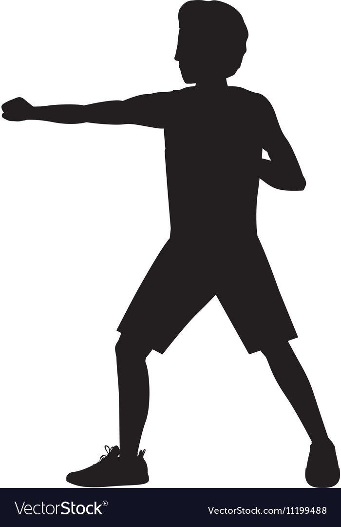 Silhouette man martial arts defense position fist vector image