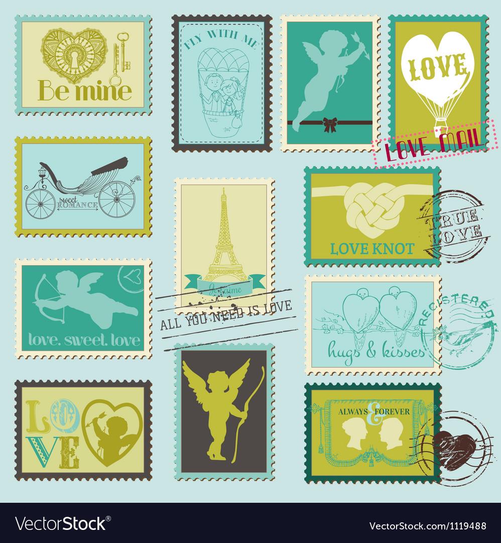 Vintage Love Valentine Stamps vector image