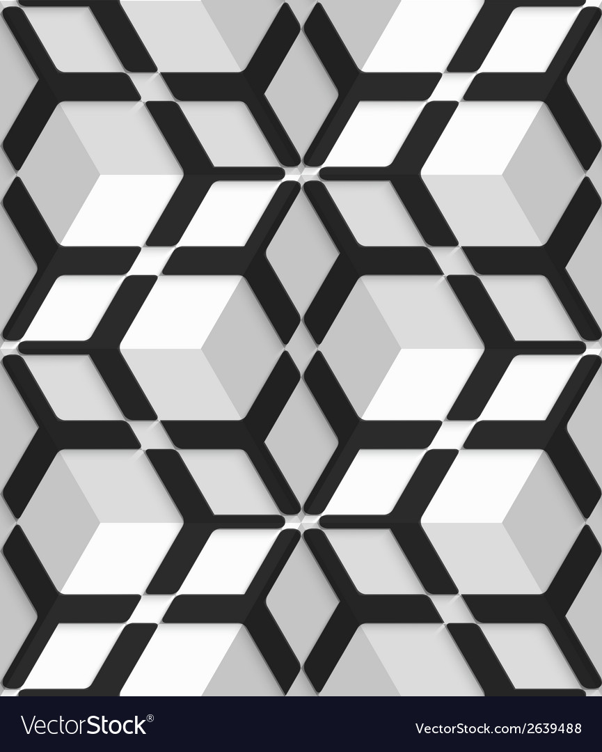 White 3d cubes with hexagonal net on seamless