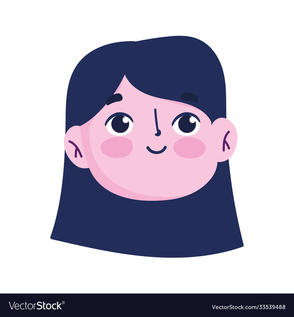 Young girl female cartoon face isolated icon