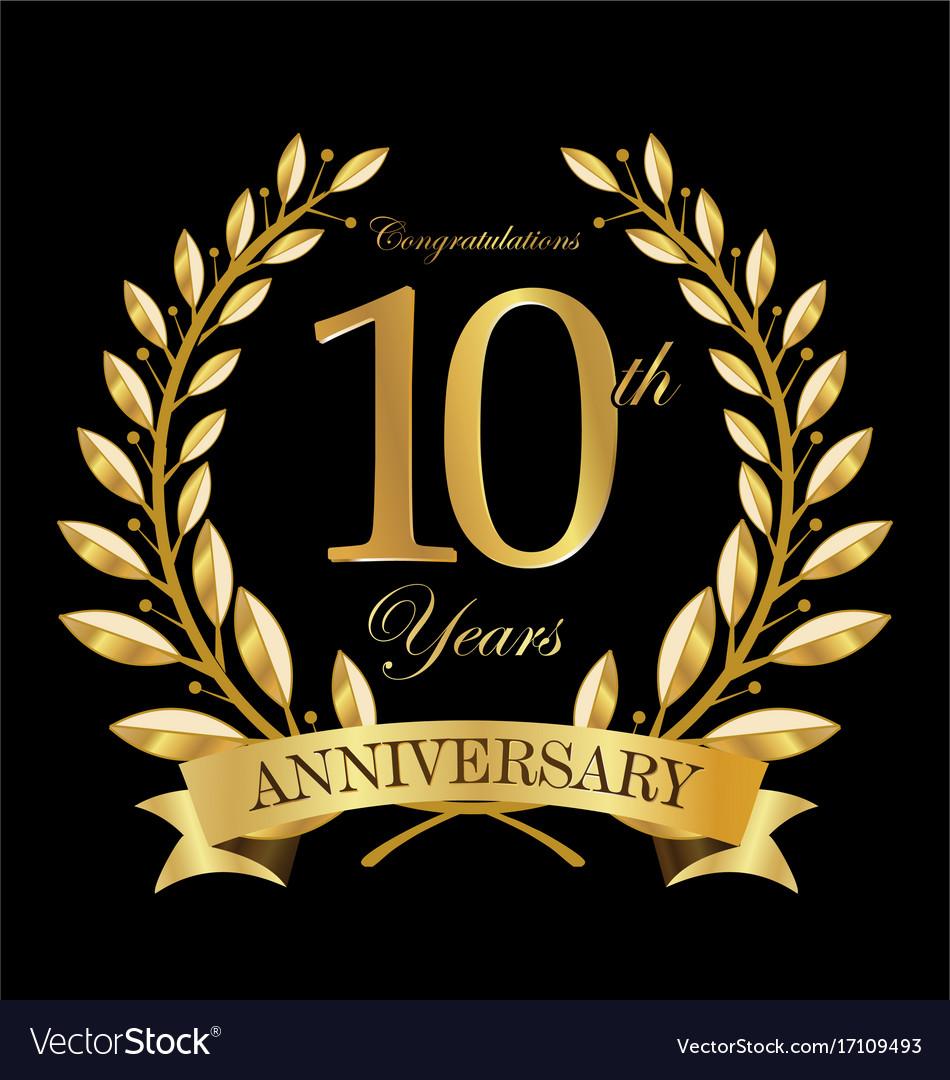Anniversary golden laurel wreath 10 years 5