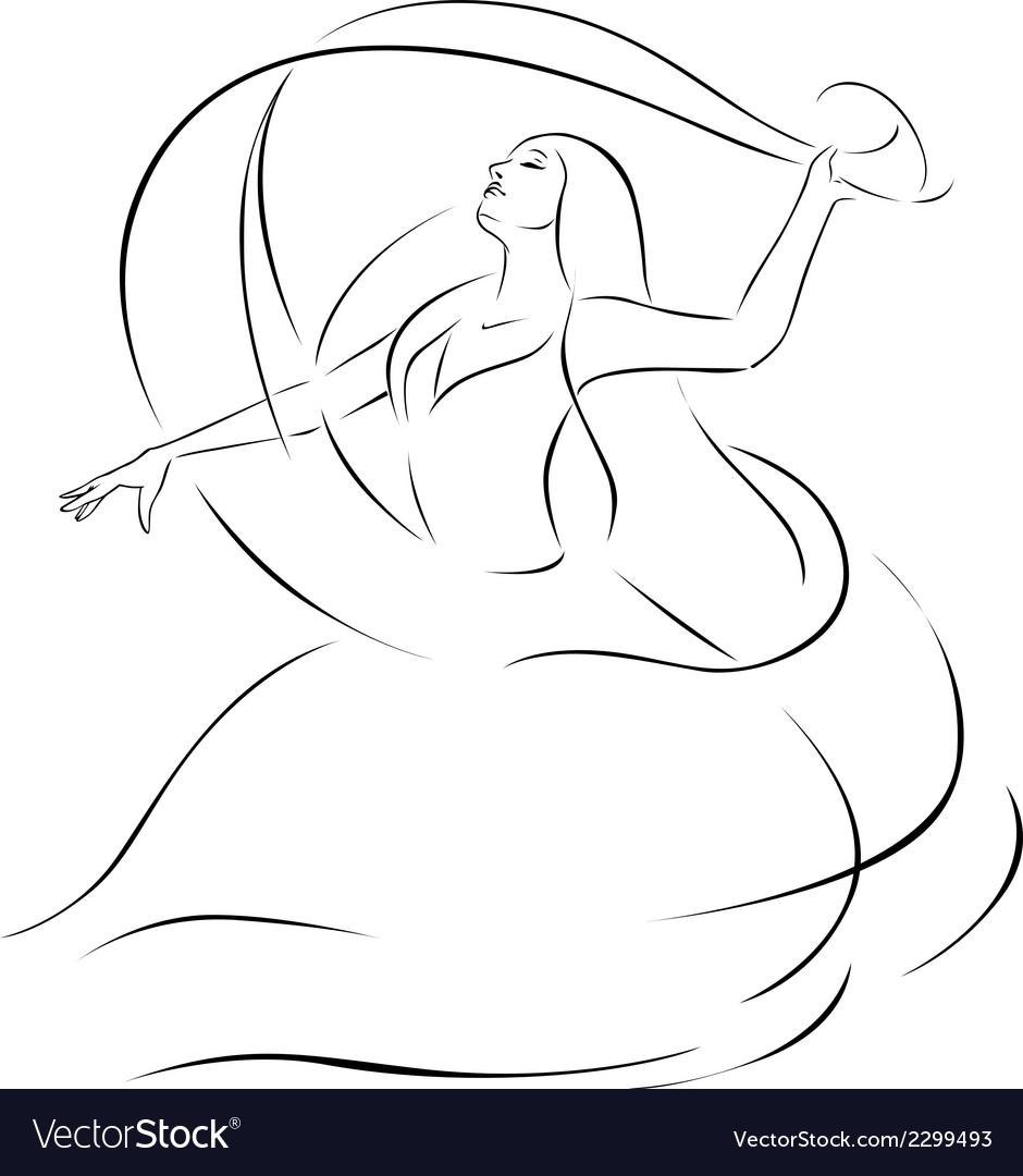 Belly dancer - black outline