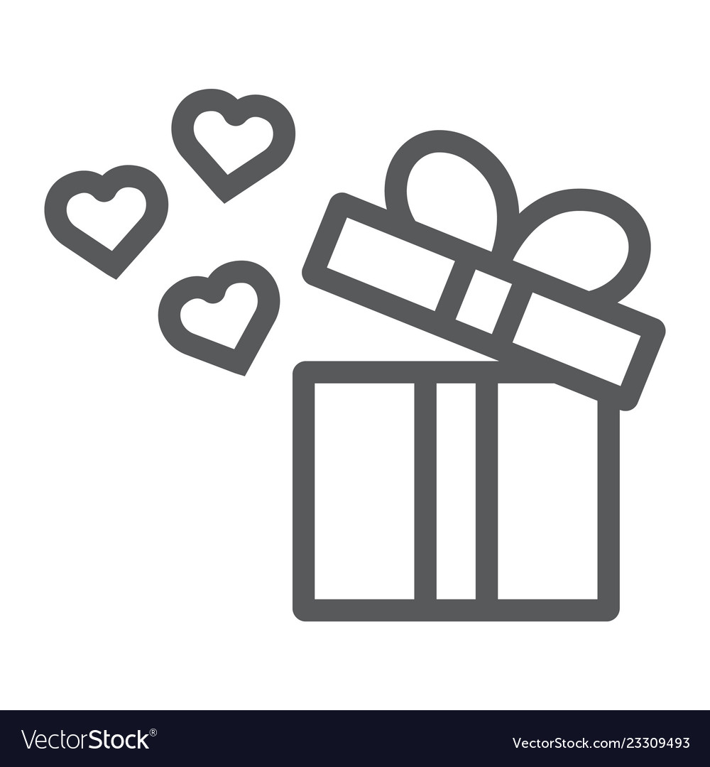 Gift line icon love and package gift box with